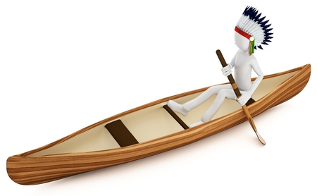 paddling: 3d man indian warrior with canoe on white