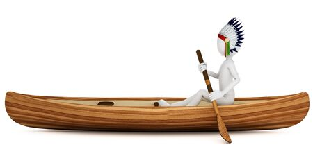 figourine: 3d man indian warrior with canoe on white