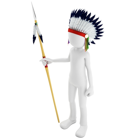 3d man native indian warrior with spear on white