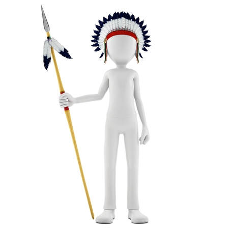 spearman: 3d man native indian warrior with spear on white