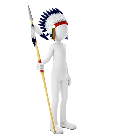 feathering: 3d man native indian warrior with spear on white