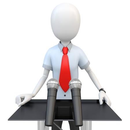 tribune: 3d man businessman speaking from a tribune on white