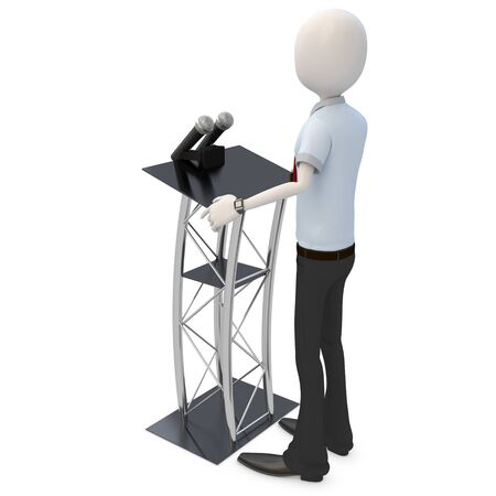 press conference: 3d man businessman speaking from a tribune on white