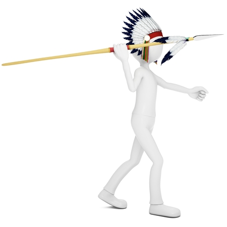3d man native indian warrior throwing  spear on white background