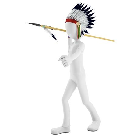 guerriero indiano: Uomo 3d nativo guerriero indiano gettando lancia su sfondo bianco