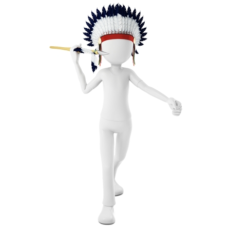 spearman: 3d man native indian warrior throwing  spear on white background