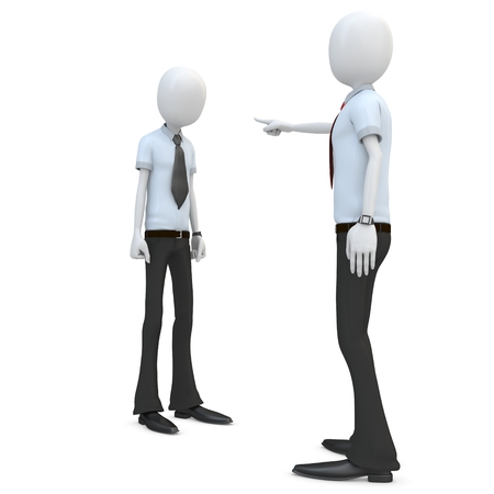 shame: 3d man businessman accusing and pointing finger on white background Stock Photo