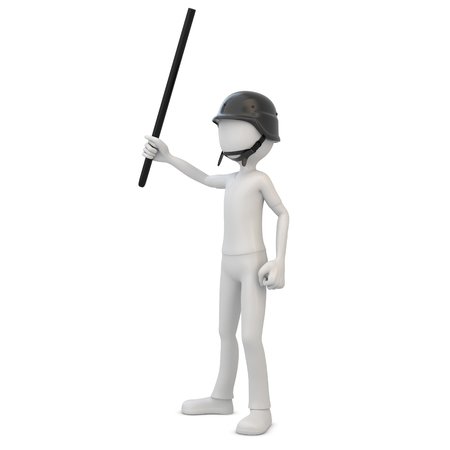 riot: 3d man riot police with baton on white background