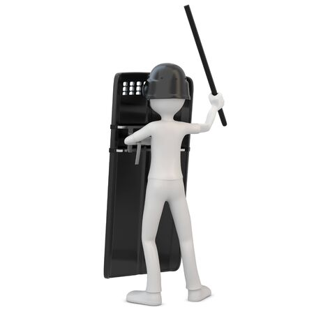 3d man riot police with shield on white background photo