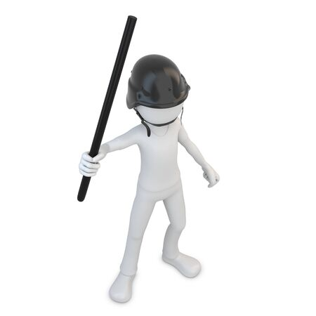 3d man riot police with baton on white background photo