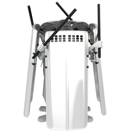 3d man riot police with shields on white background photo