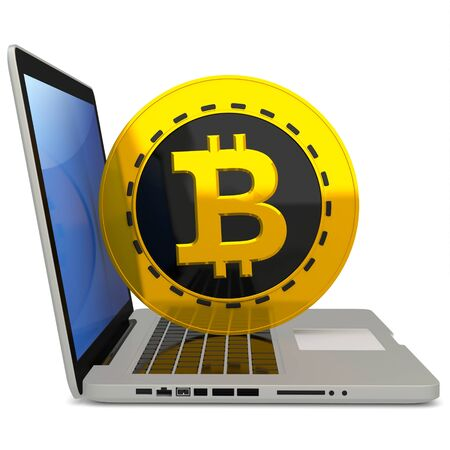 encrypted: 3d bitcoin with laptop computer  on white background