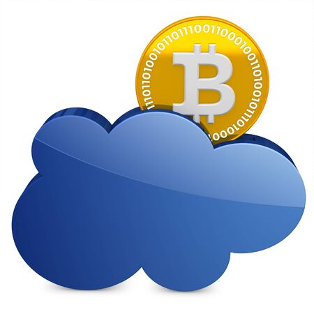 encrypted: 3d bitcoin with the cloud  on white background