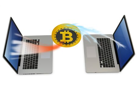 exchanging: 3d bitcoin with laptops exchanging currency  on white background Stock Photo