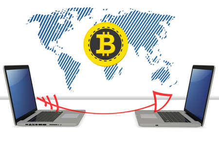 exchanging: 3d bitcoin with laptops exchanging global currency  on white background