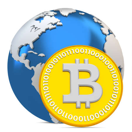3d bitcoin with earth globe, global currency  on white background photo