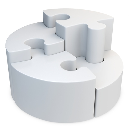3d round jigsaw puzzle on white background photo