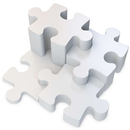 3d jigsaw puzzle on white background photo