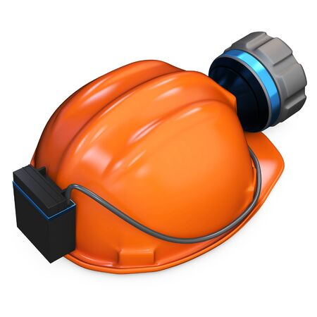 headlamp: 3d miner helmet with lamp and battery on white background  Stock Photo