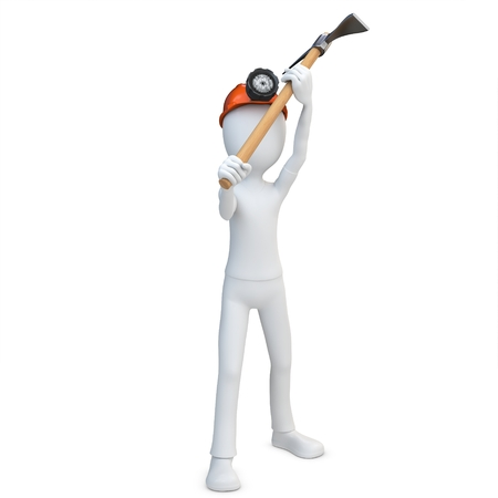 headlamp: 3d man miner with hardhat and pickaxe on white background