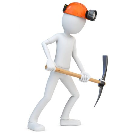 mine worker: 3d man miner with hardhat and pickaxe on white background