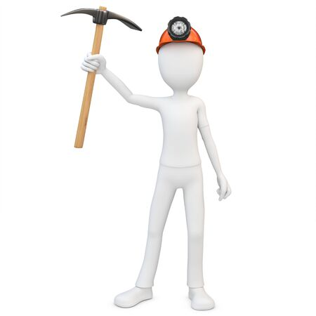 pickaxe: 3d man miner with hardhat and pickaxe on white background