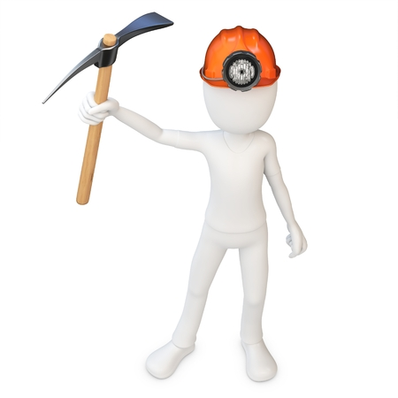 exploit: 3d man miner with hardhat and pickaxe on white background