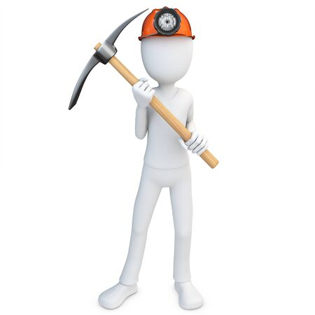 pick axe: 3d man miner with hardhat and pickaxe on white background