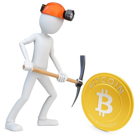 decentralized: 3d man miner mining golden Bitcoin coin on white background