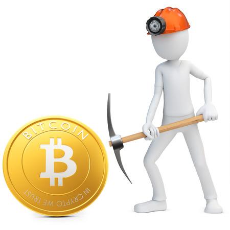 3d mens mijnbouw mijnwerker gouden Bitcoin munt op een witte achtergrond