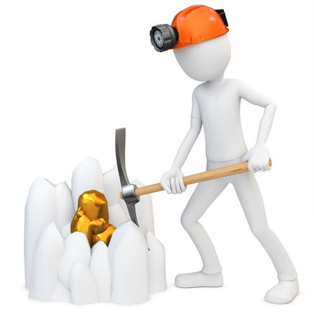 pickaxe: 3d man miner mining gold  on white background