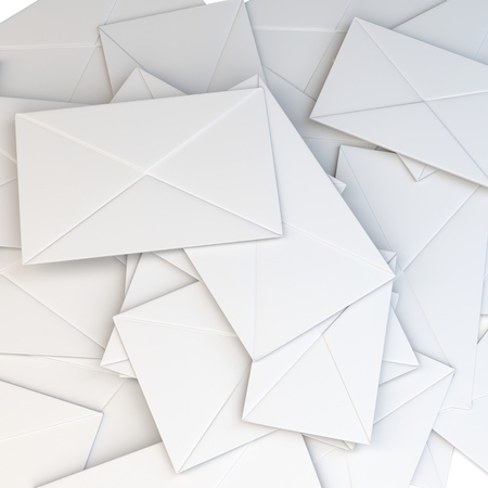 3d stack of blank white envelopes on white background Stock Photo