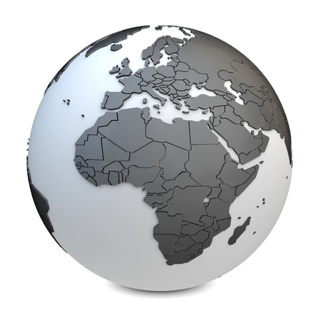 south east asia map: 3d earth globe black on white background
