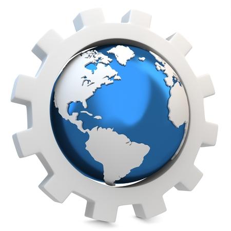 gearwheel: 3d earth globe with gear on white background
