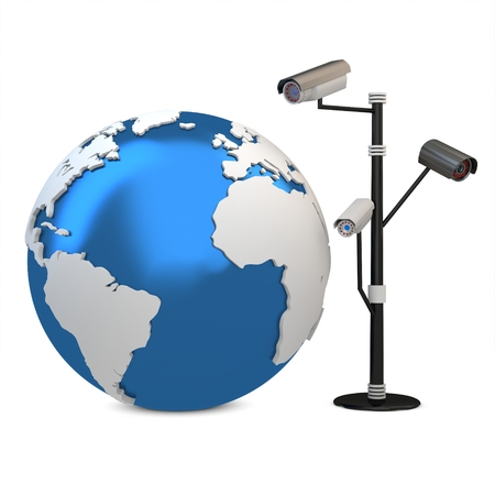 ccd: 3d global video surveillance cameras on white background Stock Photo