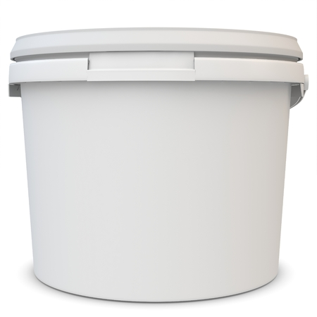 3d blank white tub paint plastic bucket container on white background photo