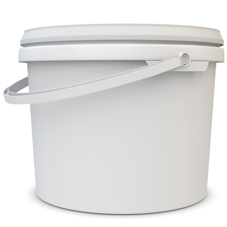 3d blank white tub paint plastic bucket container on white background