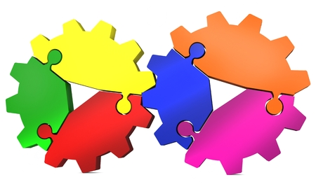 3d colorful puzzle gear on a white background  photo