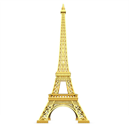 3d golden Eiffel Tower metallic on a white background