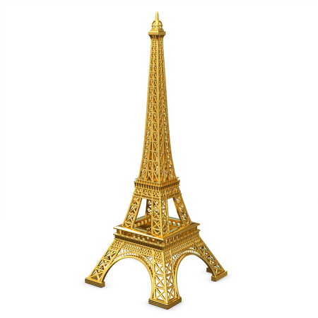 3d golden Eiffel Tower metallic on a white background  photo