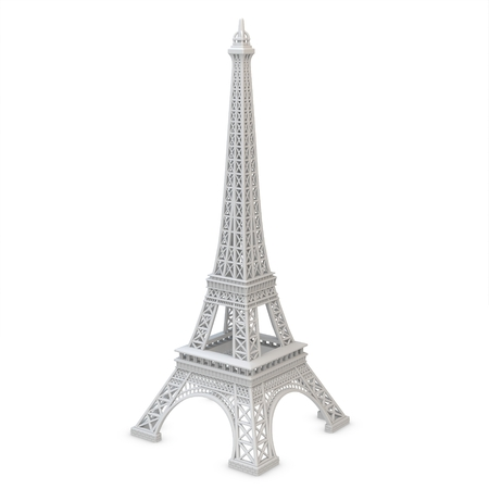 3d metallic Eiffel Tower on a white background  photo