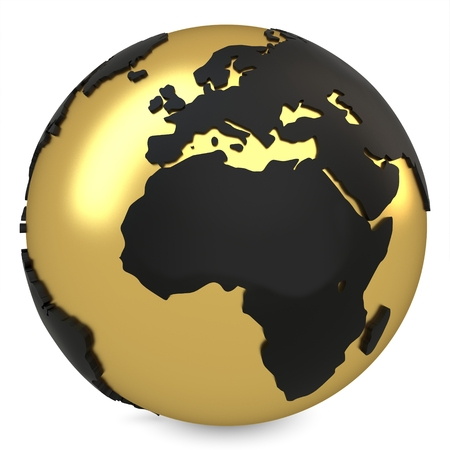 3d golden earth globe on white background