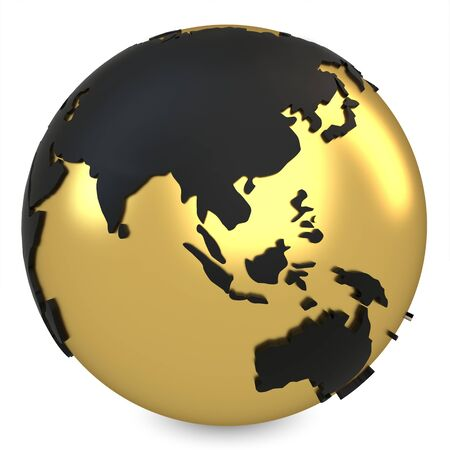 south asia: 3d golden earth globe on white background