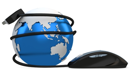 3d globe with mouse, global connection concept on white photo