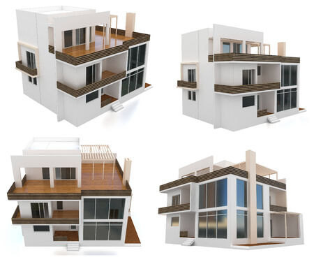 house render: 3d modern house collection on white background