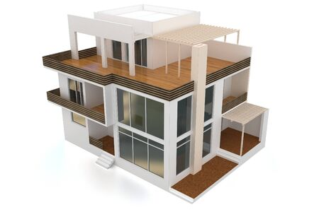 house render: 3d modern house on white background  Stock Photo