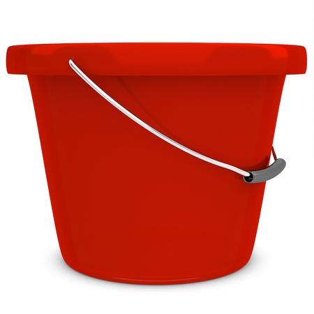 seau d eau: 3d vide en plastique rouge seau sur fond blanc Banque d'images