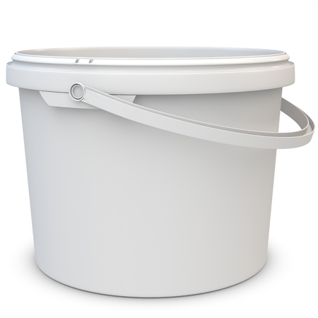 3d empty plastic bucket on white background photo