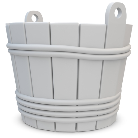rural wooden bucket: 3d wooden empty bucket on white background
