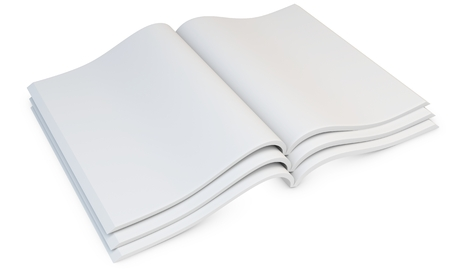 magazine stack: 3d stack of blank open magazines on white  Stock Photo
